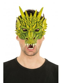 Masque latex 1/2 visage dragon vert