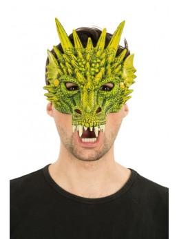 Masque latex 1/2 visage dragon vert