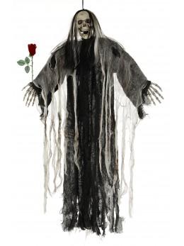 Décoration squelette avec rose et yeux lumineux