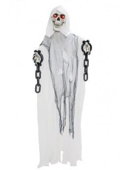 Déco squelette blanc avec chaines animé 120cm