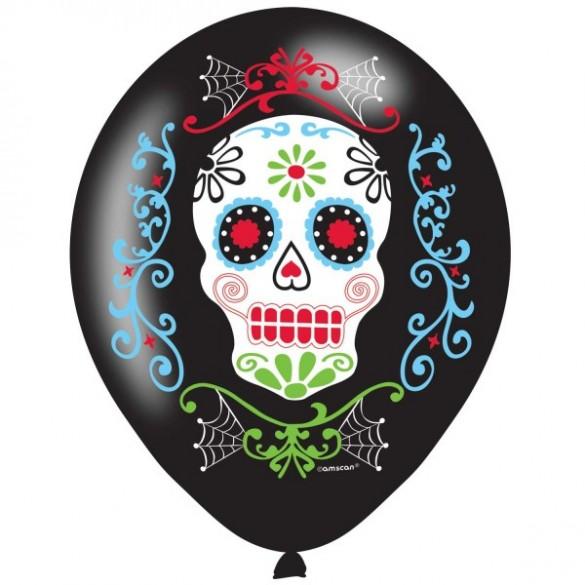6 ballons Dia de los muertos