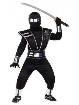 Déguisement ninja noir et argent luxe