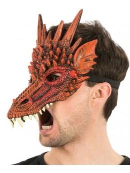 Masque latex 1/2 visage dragon rouge