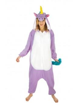 Déguisement kigurumi licorne violet