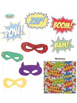 Kit photobooth 9 accessoires superhéros