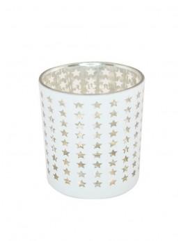 Bougeoir mini étoiles blanc