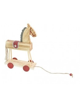 Cheval en bois sur roulettes