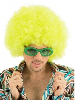perruque afro jaune fluo