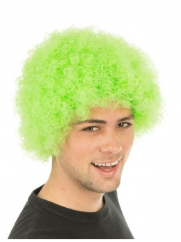 perruque pop vert fluo