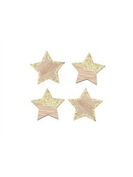 Sachet de 12 étoiles naturel et champagne