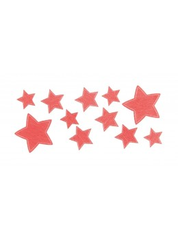 Sachet de 11 étoiles adhésives brillantes rouge