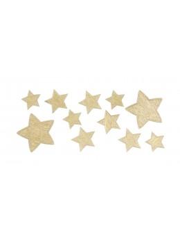 Sachet de 11 étoiles adhésives brillantes or