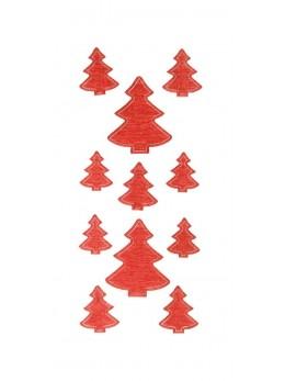 Sachet de 11 sapins adhésifs brillantes rouge
