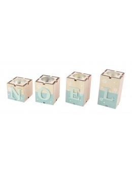 Bougeoirs 4 cubes Noël bleu ciel