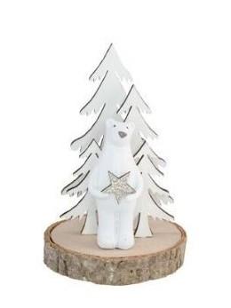 Déco ours polaire sur rondin de bois