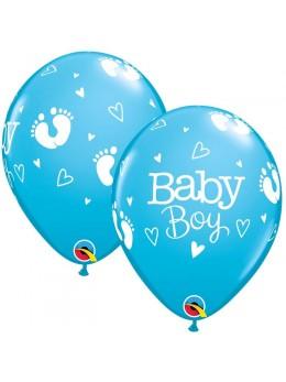 10 ballons baby boy bleu