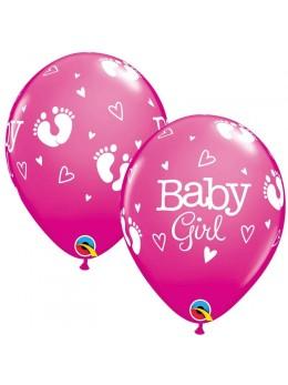 10 ballons baby girl fuchsia