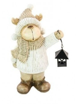 Déco renne blanche avec lanterne 23cm