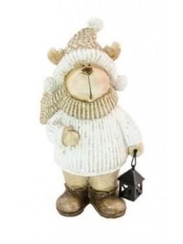 Déco renne blanche avec lanterne 18.5cm