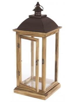 Lanterne métal bois brun 67cm
