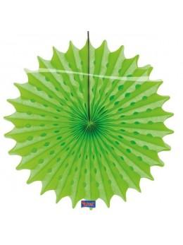 Eventail papier vert fluo 45cm