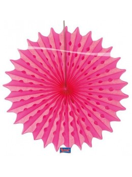 Eventail papier rose fluo 45cm