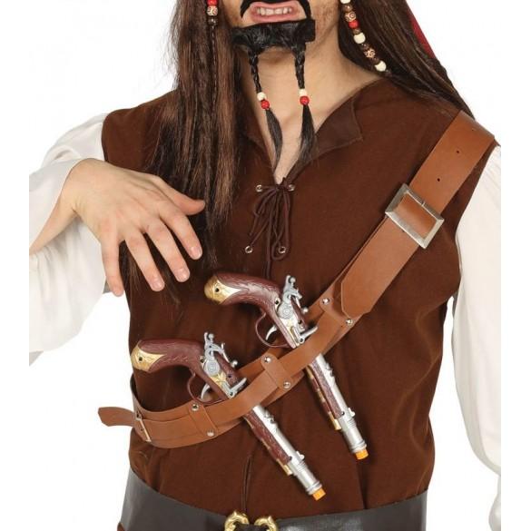 Ceinturon deux pistolets pirate   accessoire déguisement -Fête en folie 52c30e13747