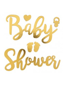 Lettres autocollantes Baby Shower or