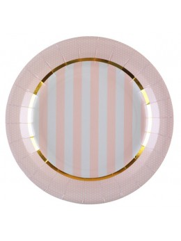 10 assiettes baby shower rose