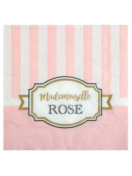 20 serviettes baby shower rose