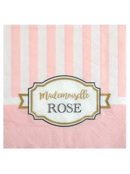 20 serviettes baby shower rose