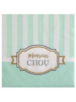 20 serviettes baby shower vert