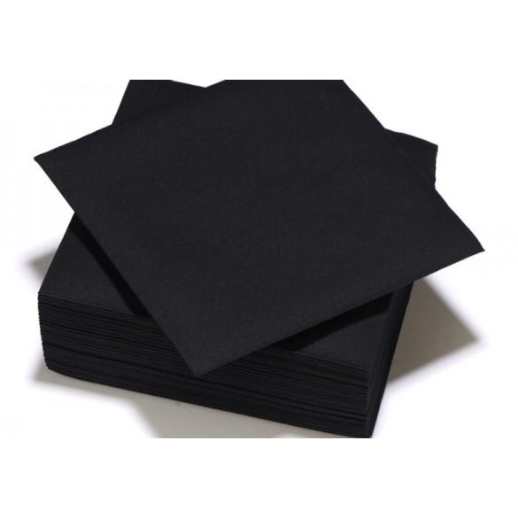 25 Serviettes intissé noire
