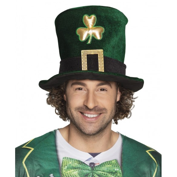 Chapeau haut de forme Saint Patrick trèfles dorés cb3fb7a4273f