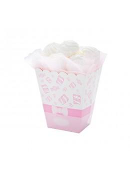 4 boîtes à pop-corn rose