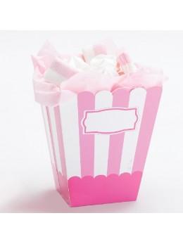 4 boîtes à pop-corn rayés rose