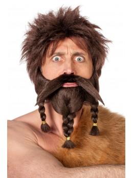 Moustache et barbe avec nattes