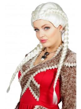 Perruque médiévale tresses blanches