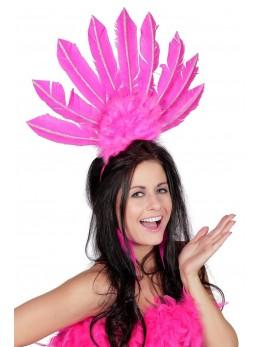 Serre-tête samba plumes rose