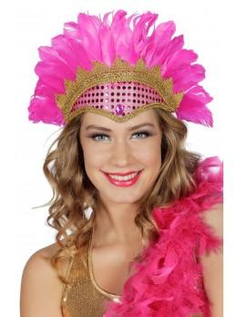 Coiffe samba plumes et paillettes rose