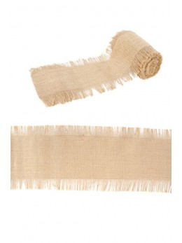Ruban de table jute naturelle et franges