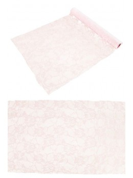 Chemin de table dentelle roses rose pastel