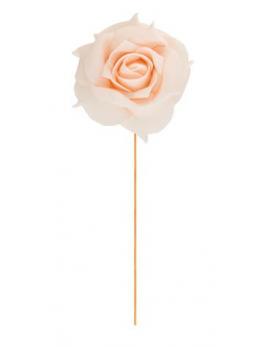 Set 2 roses pêche sur tige 10 cm