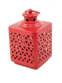 Lanterne métal rouge 17cm