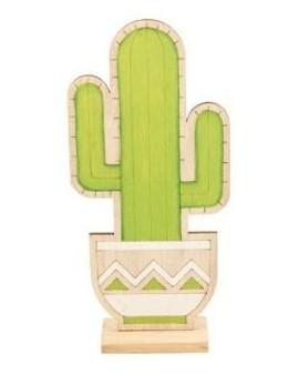 Déco cactus en bois 15cm