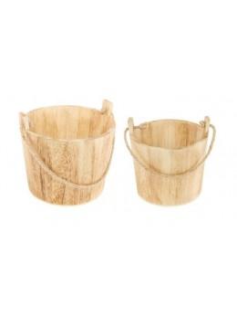Lot de 2 seaux en bois
