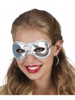 masque loup tissu argent