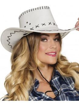 chapeau cowboy cuir blanc