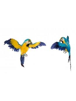 Perroquet jaune et bleu 33cm