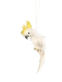 Déco perroquet blanc avec crète jaune